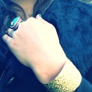 Kendra Phillips Gold Plated Hammered Leaf Cuff